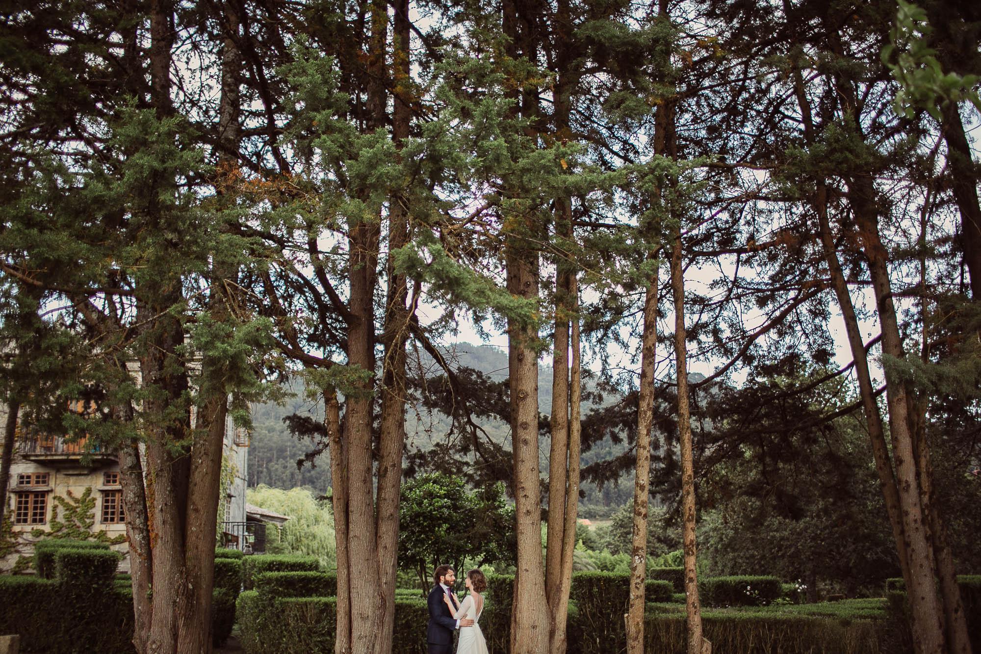 Marido y mujer abrazados y mirándose fijamente con un fondo de altos pinos