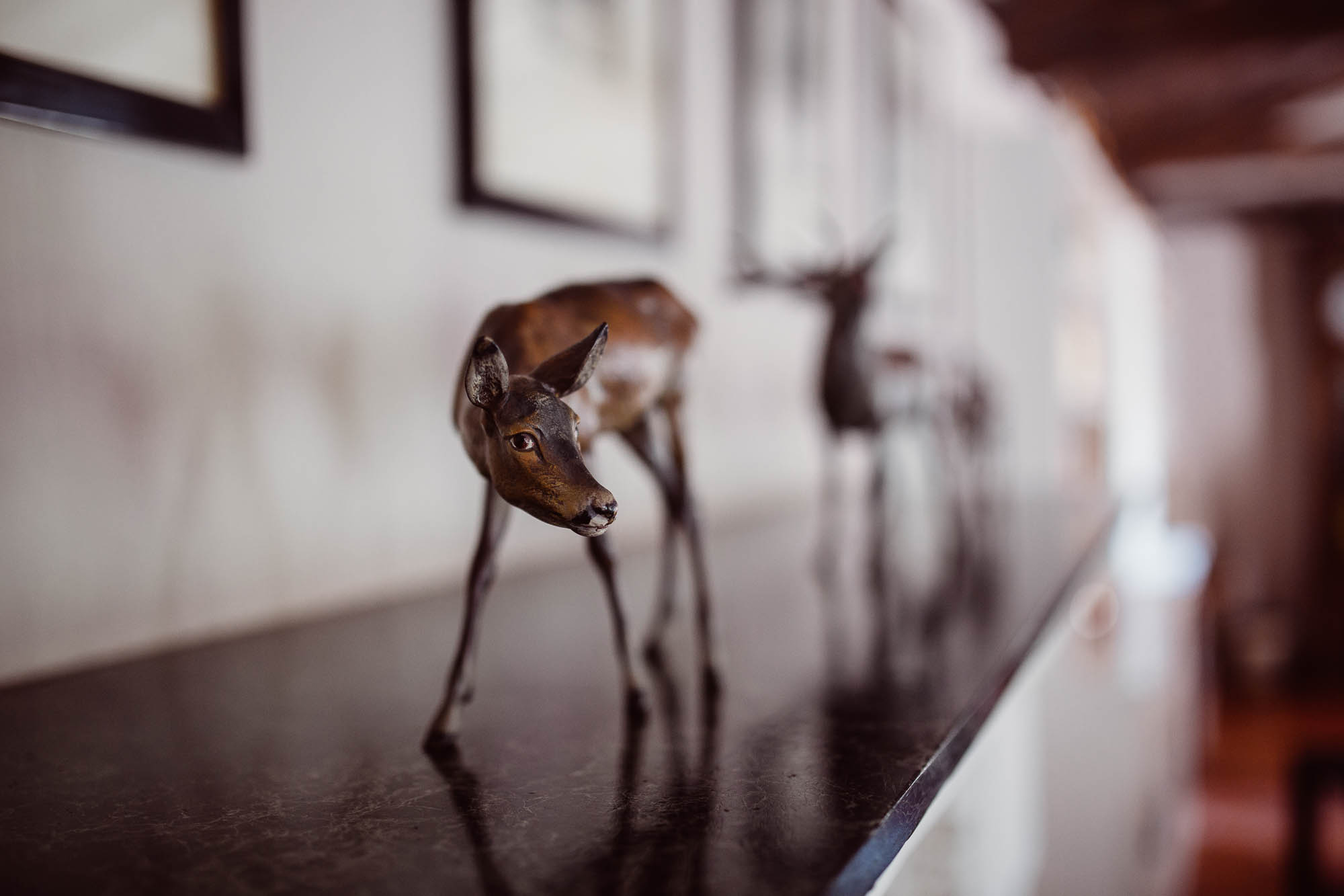 Detalle de la decoración de animales en la casa rural