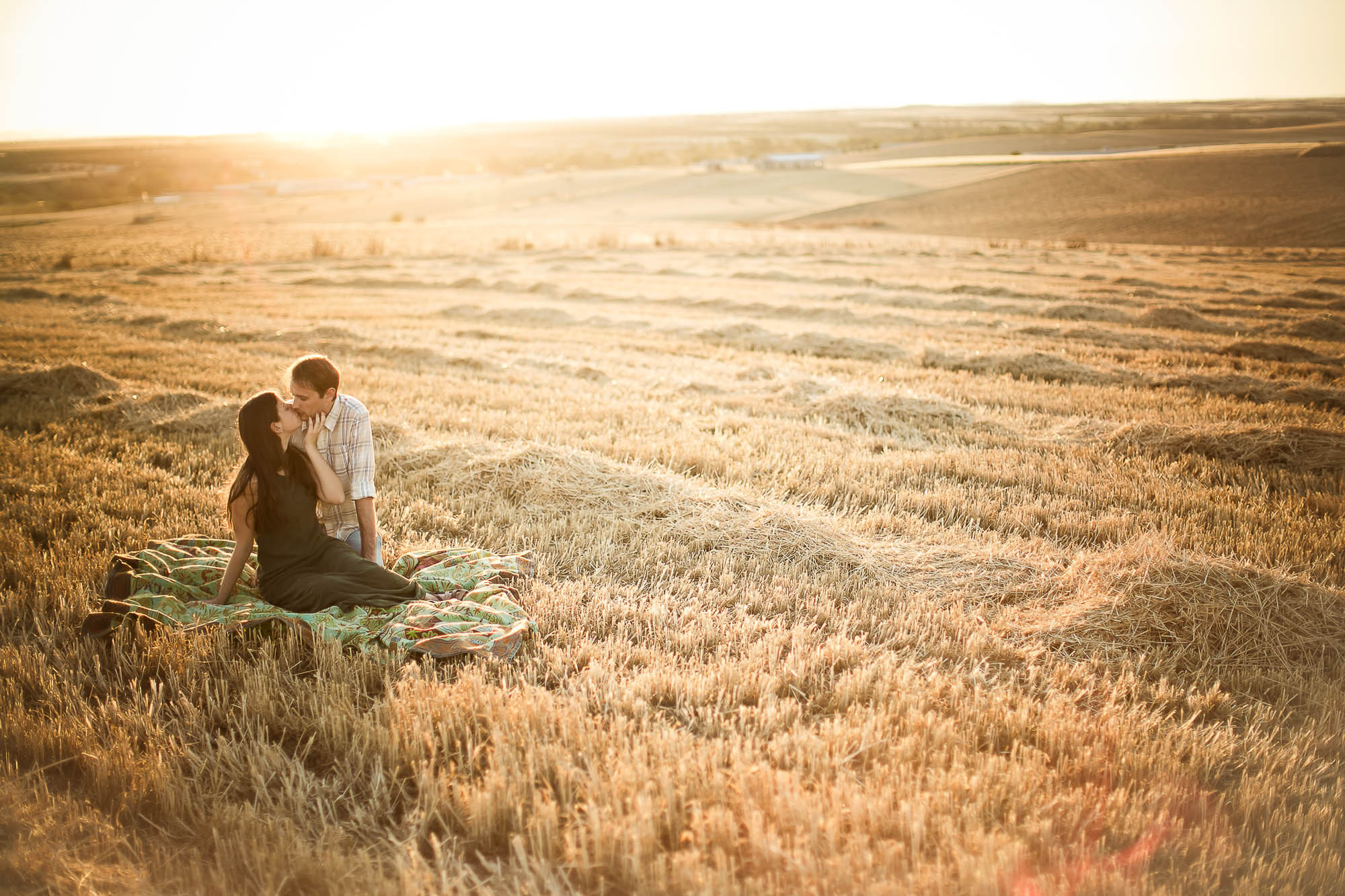 Los novios sentados en un gran campo de trigo